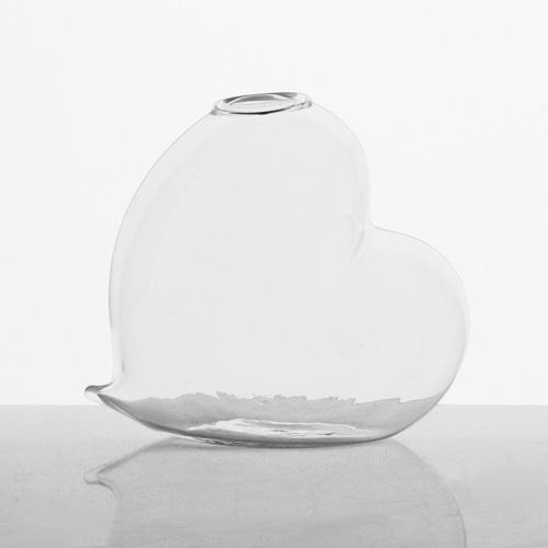 Vaso a cuore 10 cm vetro soffiato cristallo trasparente, porta essenza, monofiore.