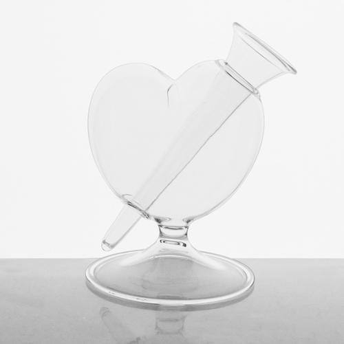 Vaso vetro soffiato cristallo trasparente a forma di cuore 13 cm con boccetta per fiori. Vaso decorativo per giardino