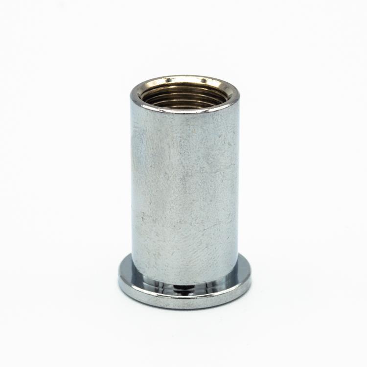 Bicchierino di fissaggio a soffitto nickel lucido per bloccafilo M10x1 - foro Ø5  + uscita laterale
