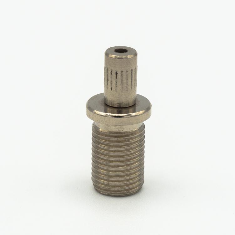 Bloccafilo automatico nichelato Ø12 x h17 mm - cavo Ø 1,5 mm. Filettatura M10x1