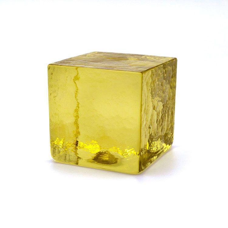 Blocco mattone sanpietrino giallo trasparente vetro Murano