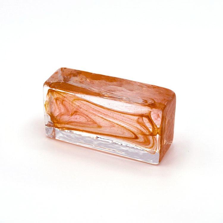 Blocco mini mattone anima arancio in cristallo trasparente vetro Murano