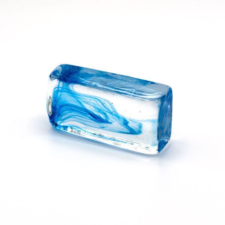 Blocco mini mattone anima blu avio in cristallo trasparente vetro Murano