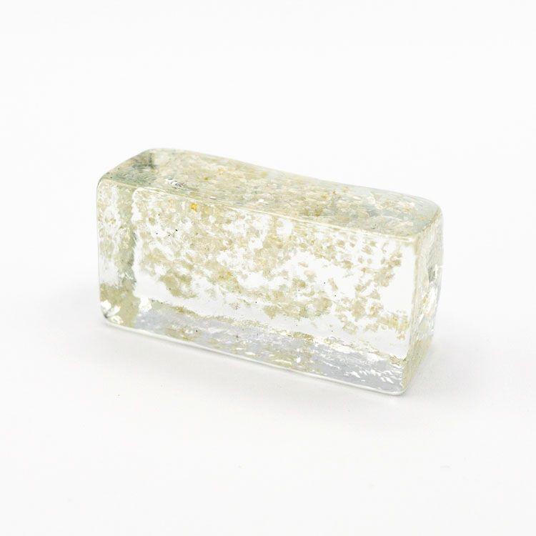 Blocco mini mattone anima glitter argento in cristallo trasparente vetro Murano