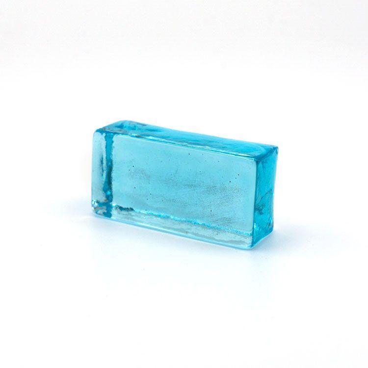 Blocco mini mattone celeste trasparente vetro Murano