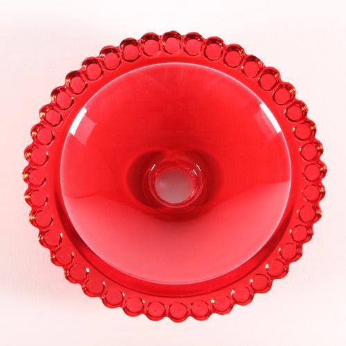 Bobeche piattino lampadari vintage in vetro rosso Ø90 mm, foro Ø10 mm.