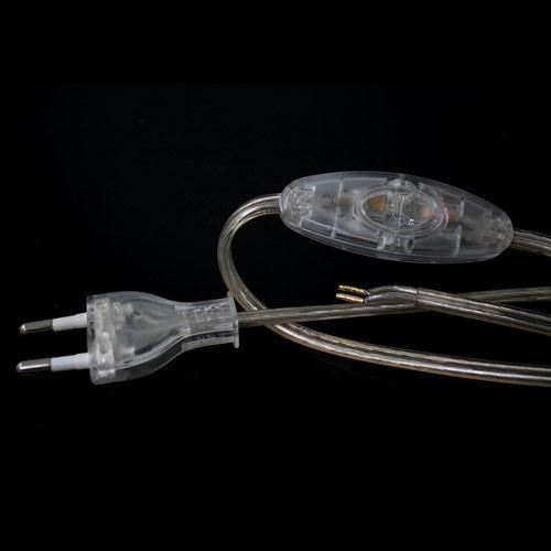 Cablaggio classe 2 con interruttore - 120 cm (eurospina) + 120 cm (attacco) - PVC colore trasparente.