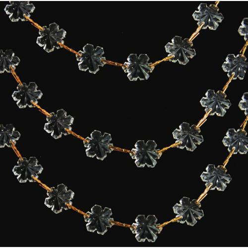Catena fiocchi di neve 14 mm in vetro veneziano cristallo, lunga 50 cm, clip oro
