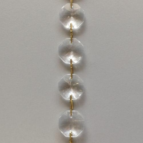 Catena ghirlanda di ottagoni 14 mm*cc in acrilico, clip brillante, lunghezza 50 cm