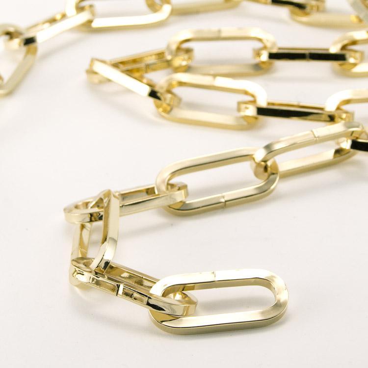 Catena metallica oro maglia genovese sezione quadrata 5,7x15x60 mm per lampadari