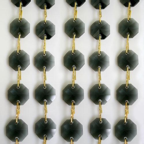 Catena ottagoni 14 mm in cristallo grigio, lunghezza 50 cm. Clip ottone.