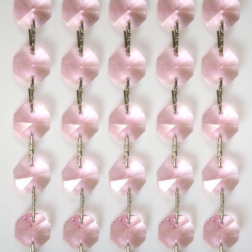 Catena ottagoni 14 mm in cristallo rosa, lunghezza 50 cm, clip nickel.