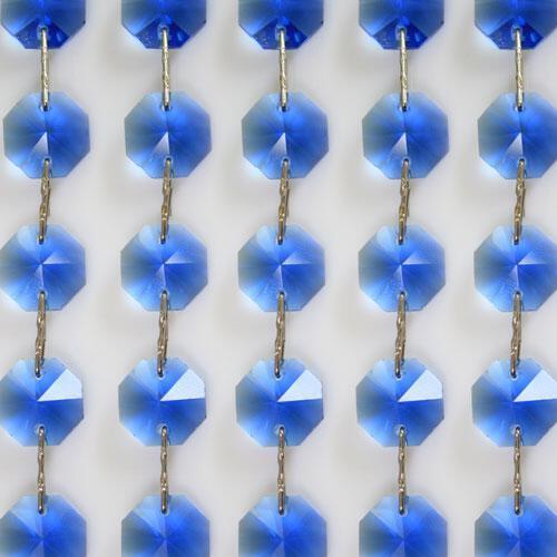 Catena ottagoni 16 mm in cristallo blu, lunghezza 50 cm, clip nickel.