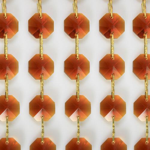 Catena ottagoni 18 mm in cristallo colore ambra, lunghezza 50 cm, clip ottone.