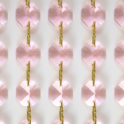 Catena ottagoni 20 mm in cristallo colore rosa, lunghezza 50 cm, clip ottone.