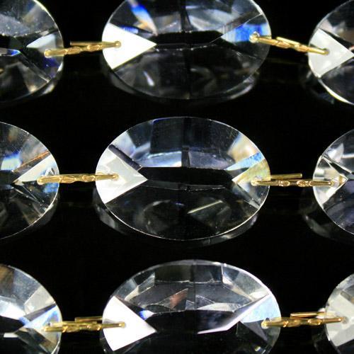 Catena ovalini 26 mm cristallo, 50 cm di lunghezza, colore puro. Clip ottone.