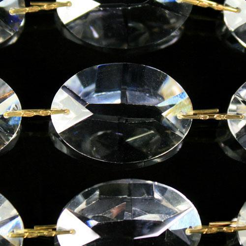 Catena ovalini 28 mm cristallo, 50 cm di lunghezza, colore puro. Clip ottone.