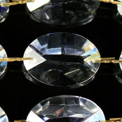 Catena ovalini 30 mm cristallo, 50 cm di lunghezza, colore puro. Clip ottone.