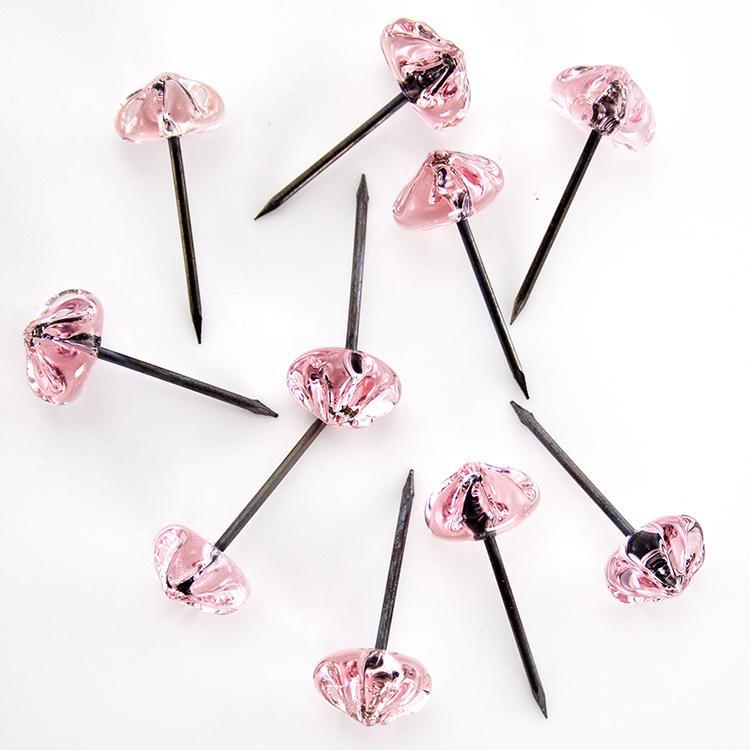 Chiodo con testa in vetro di Murano cristallo rosa fatta a mano