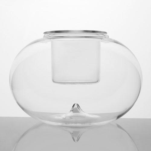 Contenitore in vetro a sfera Ø15 cm con bicchierino interno in cristallo. Porta tealight, porta essenze, centrotavola