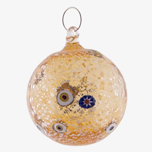 Palla di natale vetro Murano arancione tutto argento con murrine colorate