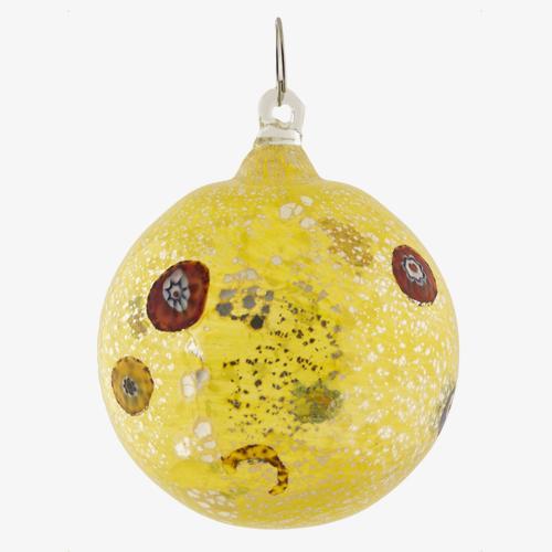 Palla di natale vetro Murano giallo tutto argento con murrine colorate