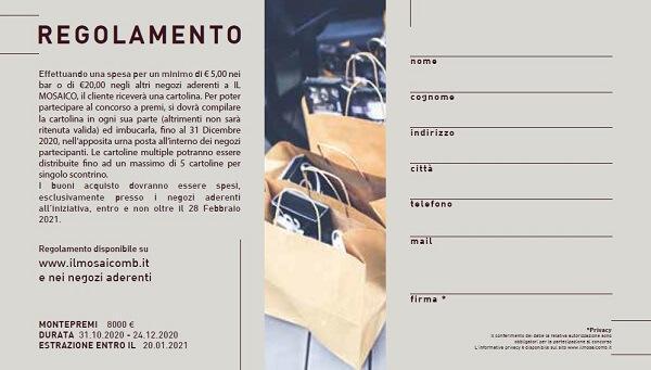 Regolamento concorso a premi Natale 2020 IL MOSAICO di Montebelluna