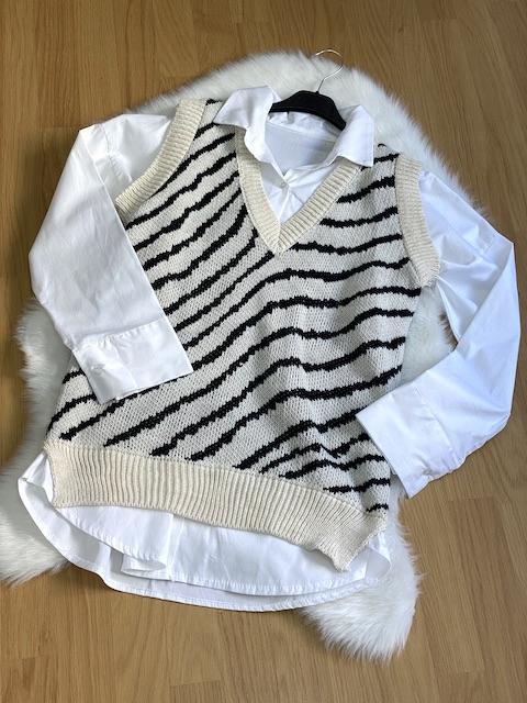 Gilet Con camicia fantasia zebrata