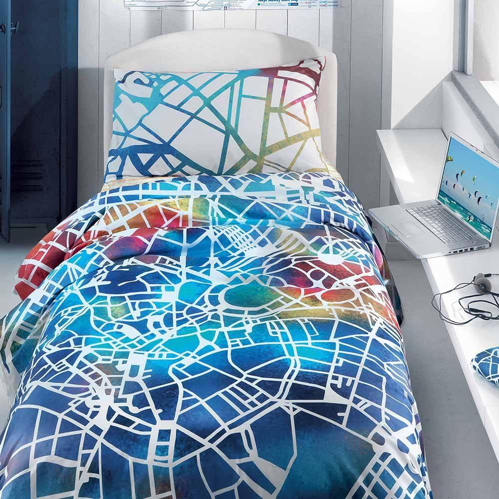Buy Duvet Cover With Under And Gabel Teen Map Cotton Pillowcase Complete