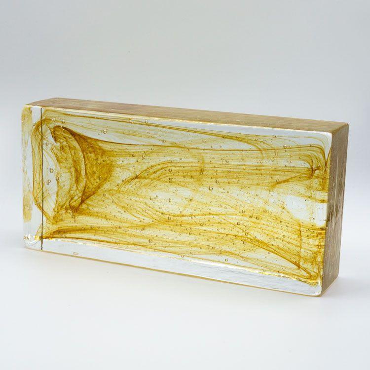 Blocco mattone anima ambra in vetro di Murano cristallo trasparente