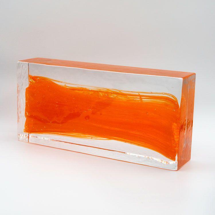 Blocco mattone anima arancio in vetro di Murano cristallo trasparente