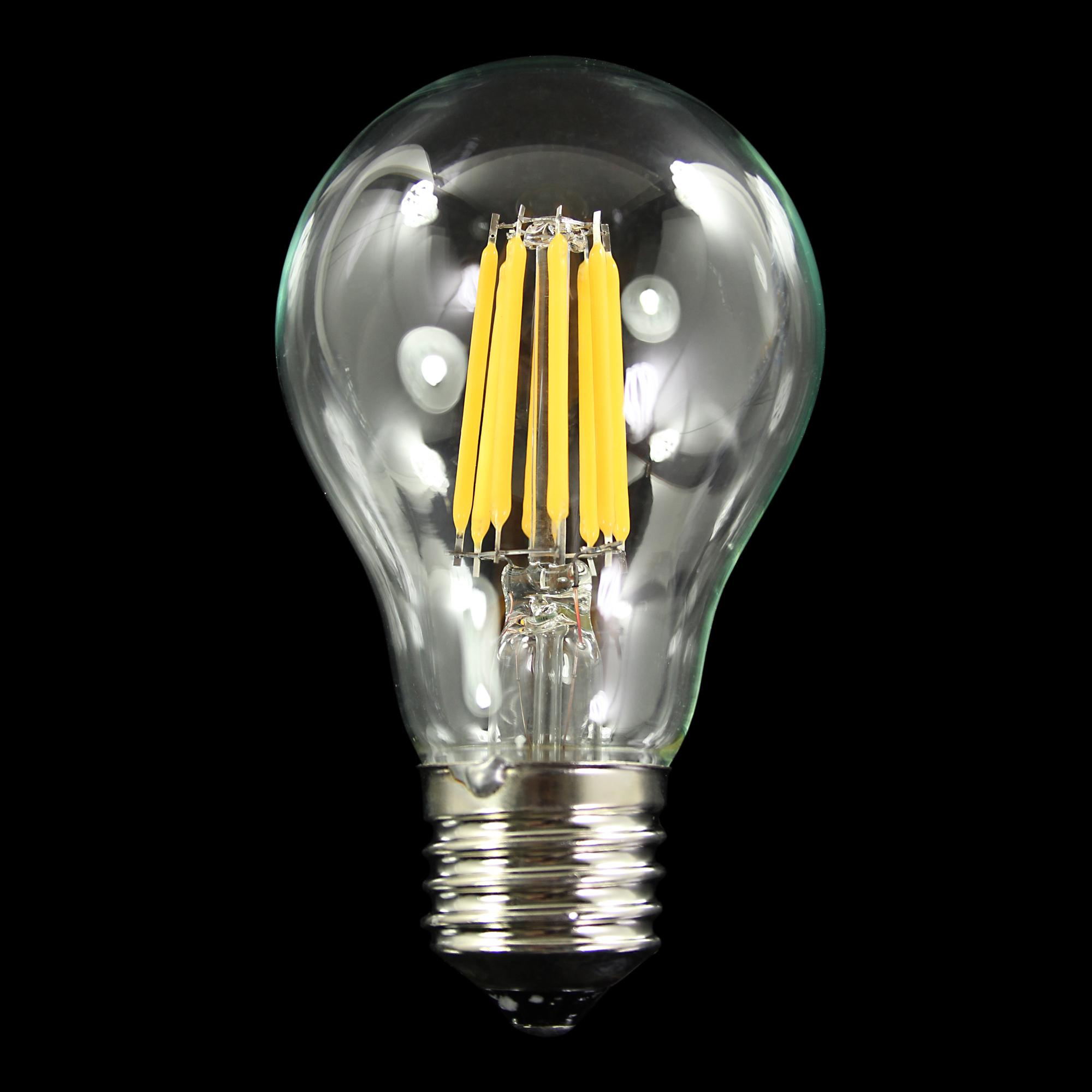 Lampadina con  strisce Led COB lineari, attacco E27, 8W 230V, luce naturale 4000K.