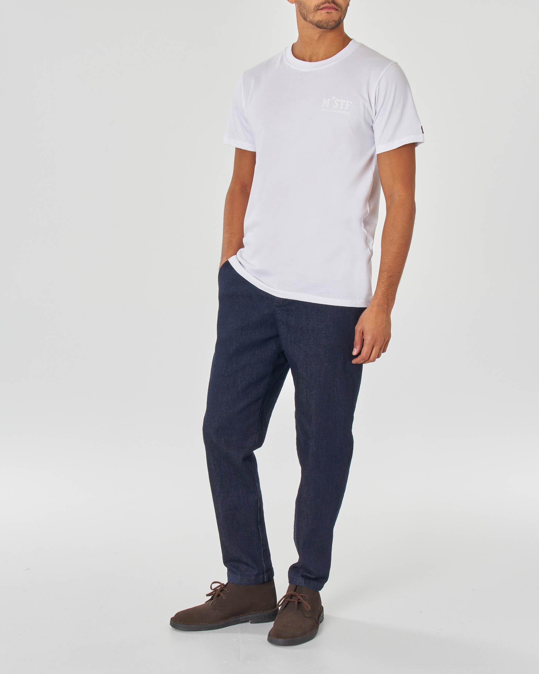 T-shirt bianca mezza manica con logo piccolo stampato sul petto