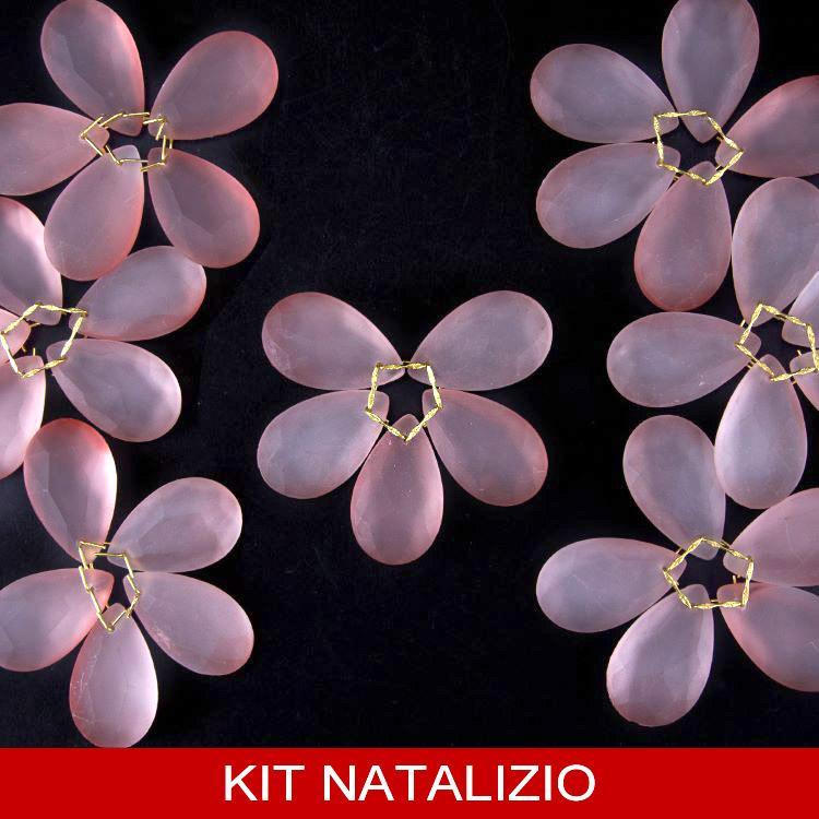 Confezione risparmio: 12 pz fiori Ø80 mm di cristalli rosa satinato con clip oro per albero di Natale