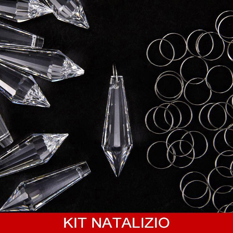 Confezione risparmio: 12 pz prisma Asfour 38 mm + 12 pz anello brisé 10 mm per pendagli natalizi