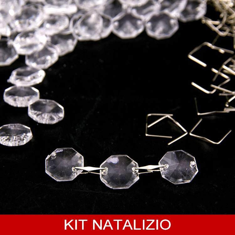 Confezione risparmio: 200 pz ottagoni 14 mm in acrilico + 200 clip nickel per catene, ghirlande e festoni di cristallo