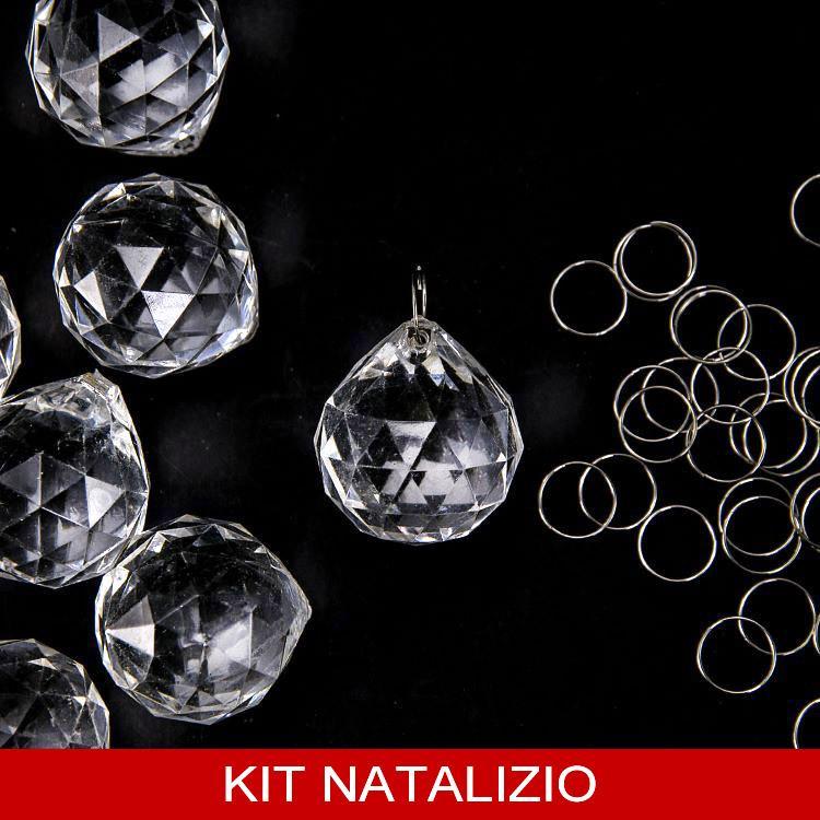 Confezione risparmio: 50 pz sfera pendente 30 mm in acrilico + 50 pz anello brisè 10 mm