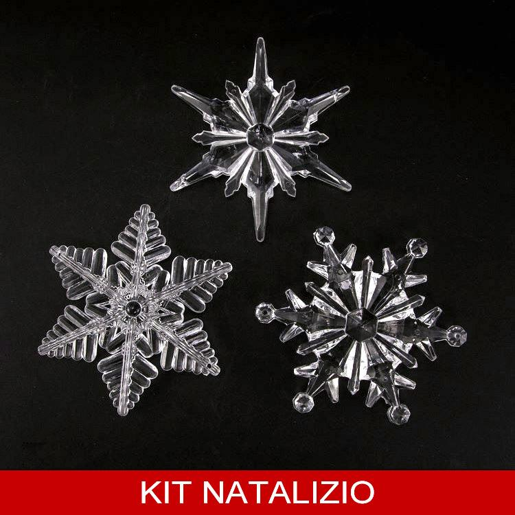 Confezione risparmio: 6 grandi fiocchi di neve assortiti in cristallo acrilico 100 mm per addobbo Natale