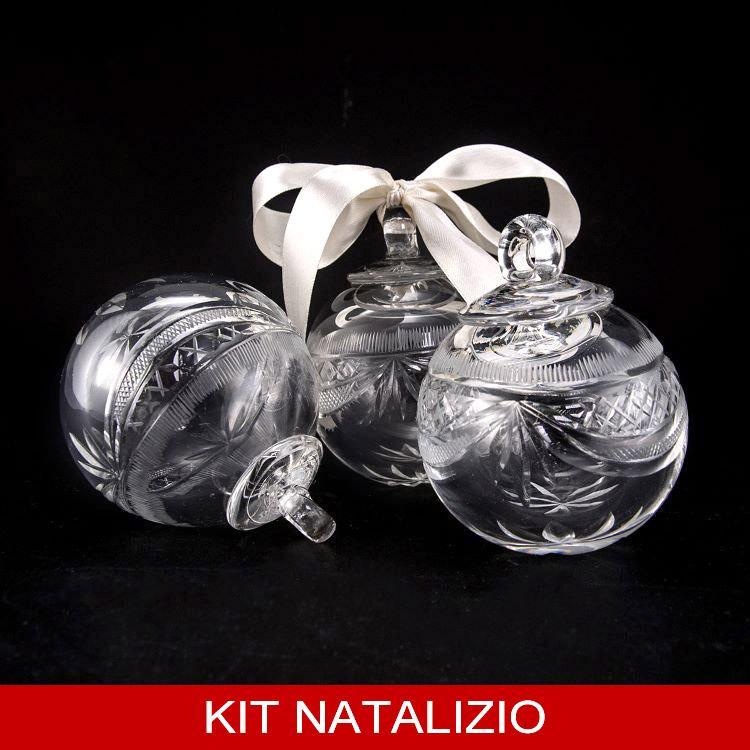 Confezione risparmio: 6 pz palla molata in cristallo di Boemia diametro 8 cm