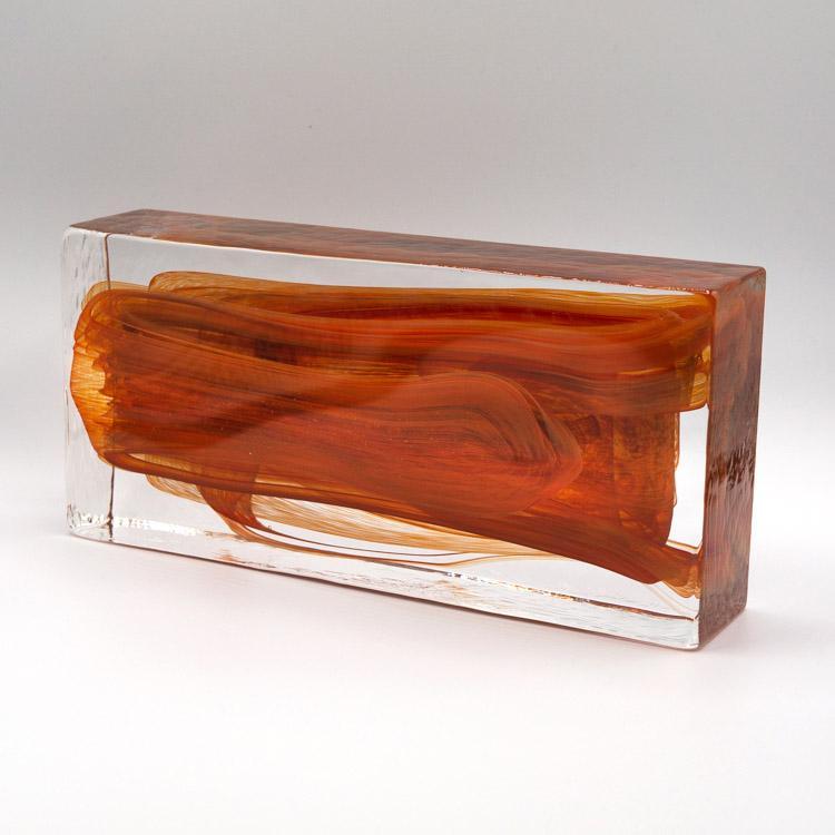 Blocco mattone anima rossa in vetro di Murano cristallo trasparente