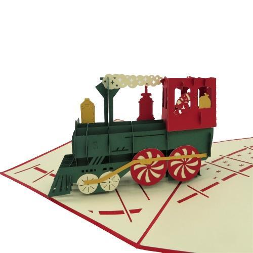 Biglietto augurale treno dei regali di Babbo Natale