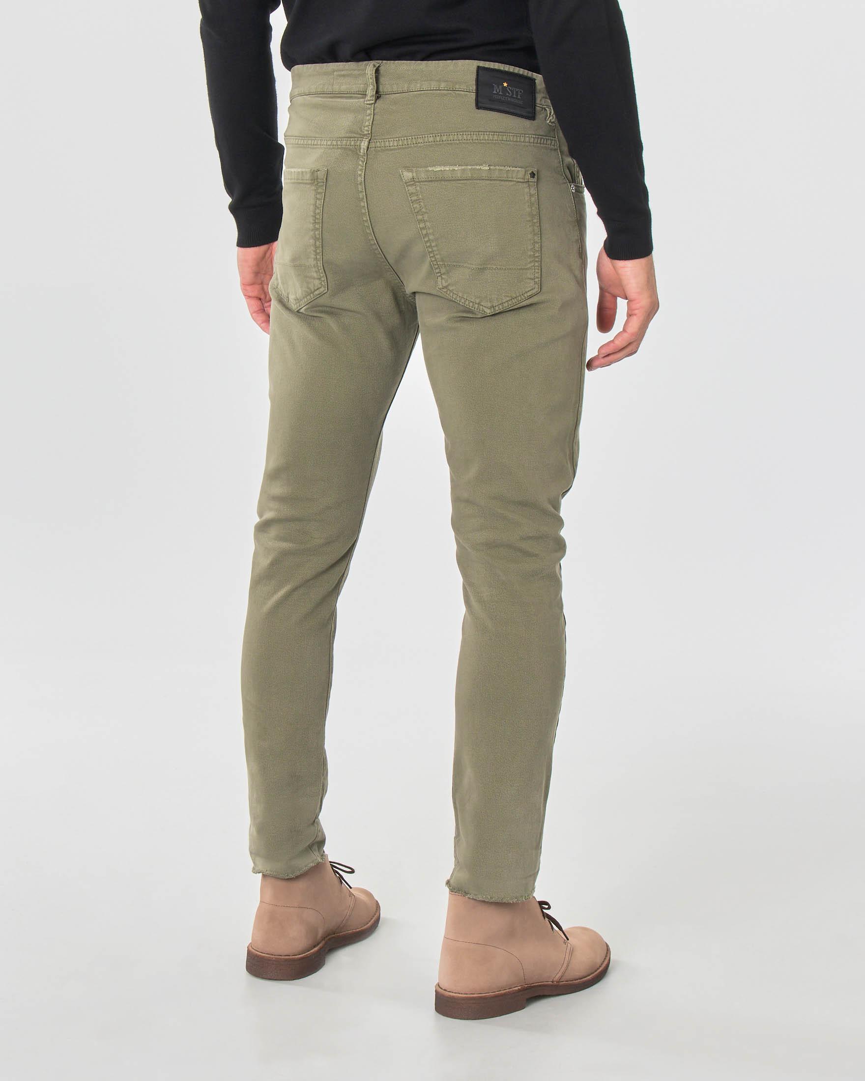 Pantalone cinque tasche verde militare in bull di cotone stretch