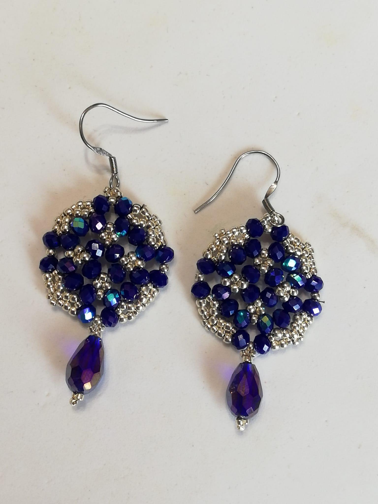 Blue and silver earrings | handmade costume jewellery online sale