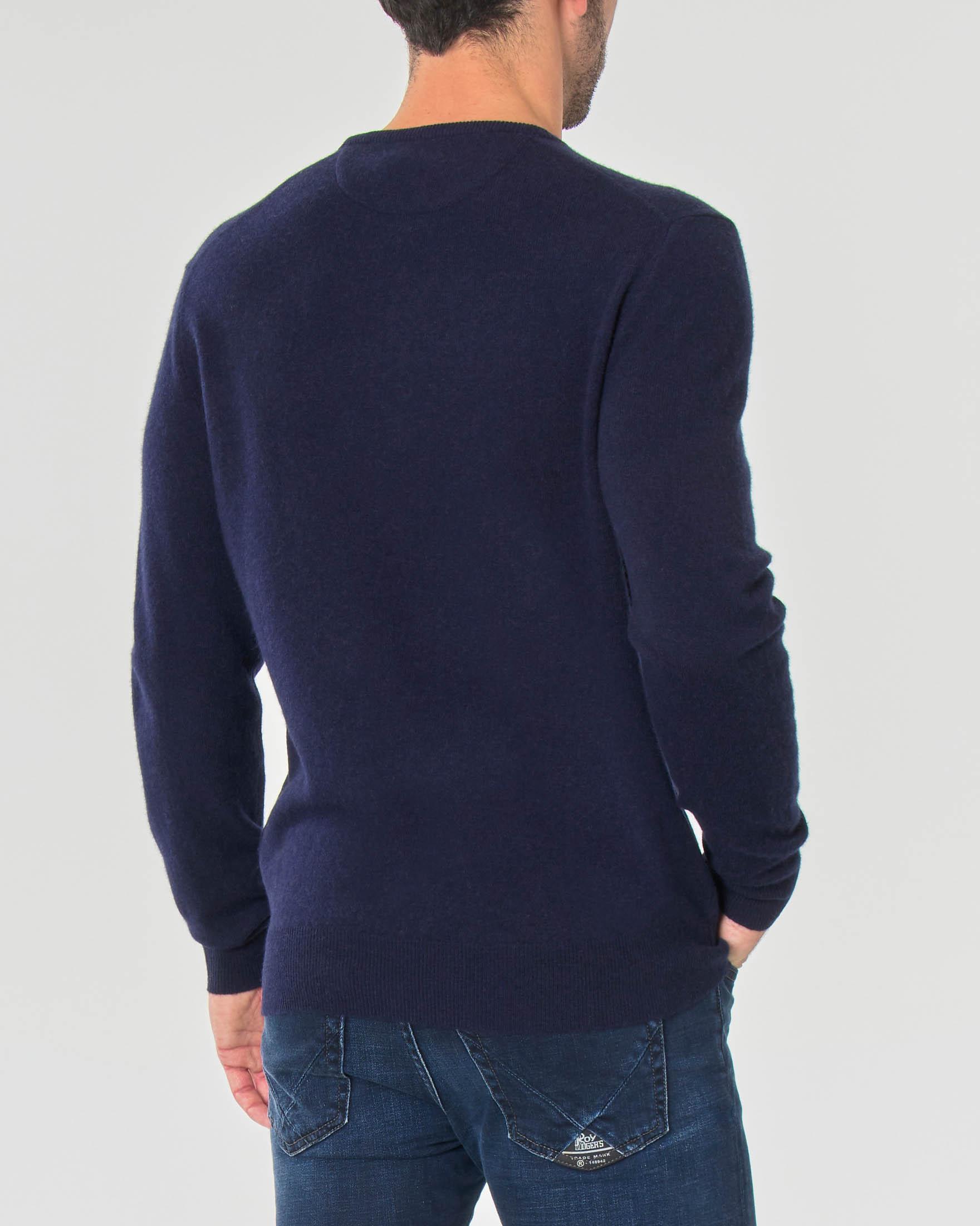 Maglioncino blu girocollo in lambswool di pura lana