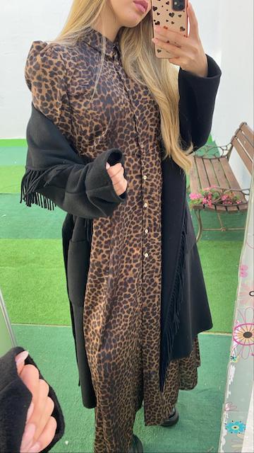 Abito Lungo Vicolo modello Chemisier fantasia leopardata