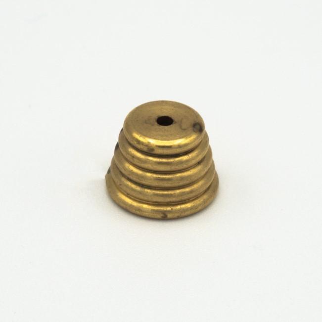 Finale estetico rigato in ottone grezzo M10x1 + foro Ø2,5 mm. Dimensioni Ø14 x h10 mm.