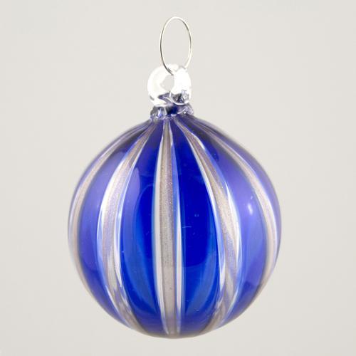 Palla Natale vetro Murano soffiato filigrana multicolore e avventurina colore blu e cristallo