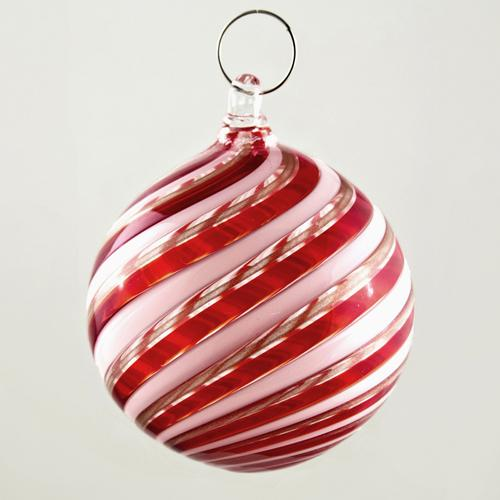 Palla Natale vetro Murano soffiato filigrana multicolore e avventurina colore rosso e bianco
