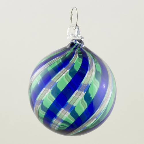 Palla Natale vetro Murano soffiato filigrana multicolore e avventurina colore verde e blu