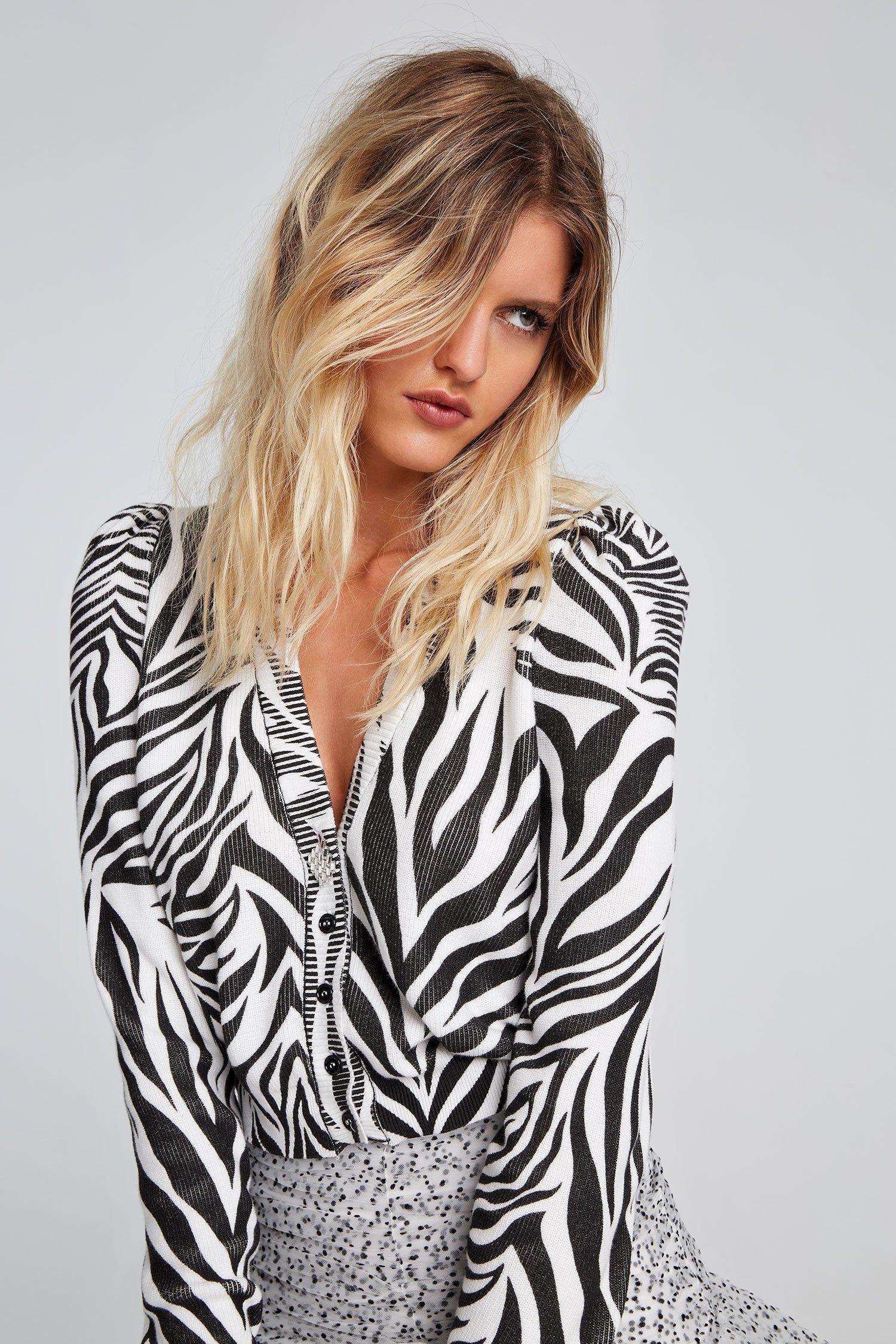 Cardigan zebra bianco Aniye By